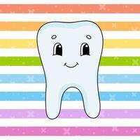 dente feliz. ilustração em vetor plana fofa em estilo cartoon infantil. personagem engraçado. isolado no fundo branco.