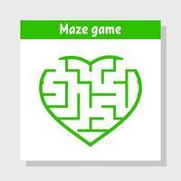 coração labirinto de cor. jogo para crianças e adultos. quebra-cabeça para crianças. enigma do labirinto. Dia dos Namorados. ilustração vetorial plana. vetor