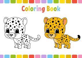 guepardo. livro de colorir para crianças. personagem alegre. ilustração vetorial. estilo bonito dos desenhos animados. desenhado à mão. página de fantasia para crianças. isolado no fundo branco. vetor