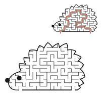 labirinto preto toon hedgehog kids planilhas. página de atividades. jogo de quebra-cabeça para crianças. animal selvagem. enigma do labirinto. ilustração vetorial. com a resposta. vetor