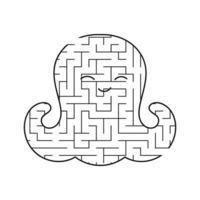 polvo de bebê fofo labirinto preto. planilhas para crianças. página de atividades. jogo de quebra-cabeça para crianças. vida marinha. enigma do labirinto. ilustração vetorial. vetor