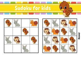 sudoku para crianças. planilha de desenvolvimento educacional. página de atividades com fotos. jogo de puzzle para crianças e bebês. treinamento de pensamento lógico. ilustração isolada do vetor. estilo dos desenhos animados. vetor