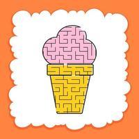 labirinto colorido é um sorvete apetitoso. planilhas para crianças. página de atividades. jogo de quebra-cabeça para crianças. comida saborosa. enigma do labirinto. ilustração vetorial. vetor