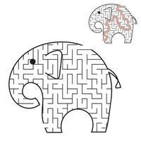 elefante preto labirinto toon. planilhas para crianças. página de atividades. jogo de quebra-cabeça para crianças. animal selvagem. enigma do labirinto. ilustração vetorial. com a resposta. vetor
