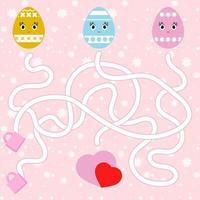 labirinto abstrato da cor. planilhas para crianças. página de atividades. jogo de quebra-cabeça para crianças. desenho de ovo fofo, o caminho para o coração, feriado, Páscoa. enigma do labirinto. ilustração vetorial. vetor