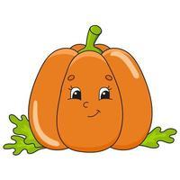abóbora laranja. ilustração em vetor plana fofa em estilo cartoon infantil. personagem engraçado. isolado no fundo branco.