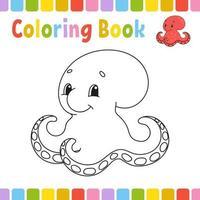 colorir livro para crianças. ilustração em vetor bonito dos desenhos animados.
