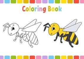 Abelha. livro de colorir para crianças. personagem alegre. ilustração vetorial. estilo bonito dos desenhos animados. desenhado à mão. página de fantasia para crianças. isolado no fundo branco. vetor