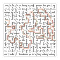 labirinto quadrado abstrato. jogo para crianças. quebra-cabeça para crianças. uma entrada, uma saída. enigma do labirinto. ilustração em vetor plana isolada no fundo branco. com resposta.