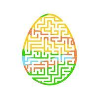 ovo de páscoa do labirinto. jogo para crianças. quebra-cabeça para crianças. estilo dos desenhos animados. enigma do labirinto. ilustração do vetor de cor. o desenvolvimento do pensamento lógico e espacial.