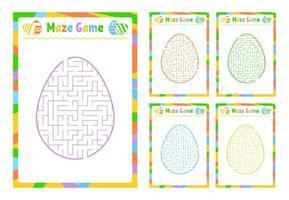 um conjunto de labirintos. jogo para crianças. quebra-cabeça para crianças. enigma do labirinto. estilo dos desenhos animados. planilhas visuais. página de atividades. ilustração do vetor de cor.