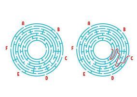 labirinto redondo de cor. jogo para crianças. quebra-cabeça para crianças. enigma do labirinto. ilustração em vetor plana isolada no fundo branco. com a resposta. com lugar para sua imagem.