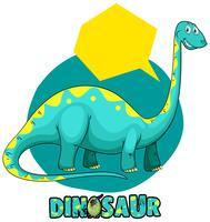 Modelo de etiqueta com dinossauro brachiosaurus