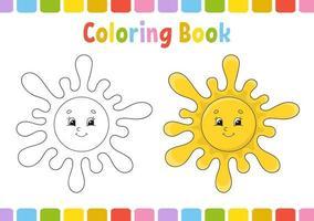 sol. livro de colorir para crianças. personagem alegre. ilustração vetorial. estilo bonito dos desenhos animados. desenhado à mão. página de fantasia para crianças. isolado no fundo branco. vetor