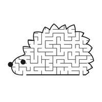 labirinto preto toon hedgehog kids planilhas. página de atividades. jogo de quebra-cabeça para crianças. animal selvagem. enigma do labirinto. ilustração vetorial. vetor