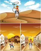 Cowboys em três cenas diferentes vetor