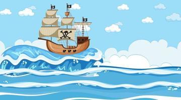 cena do oceano durante o dia com o navio pirata em estilo cartoon vetor