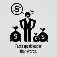 Fatos falam mais alto que palavras. vetor