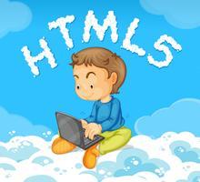 Um, homem jovem, inclinar-se, código html vetor