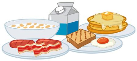 Um conjunto de café da manhã no fundo branco vetor