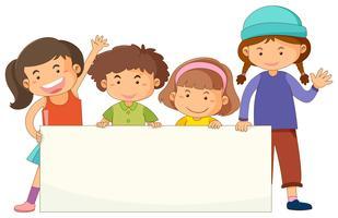 Modelo de banner com crianças fofos