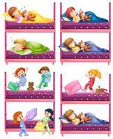 Crianças, dormir, ligado, cama beliche vetor