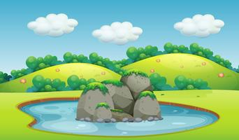 Uma bela paisagem de lagoa vetor