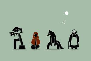 Chapeuzinho vermelho, lobo, lenhador e personagens de avó em Stick Figure pictograma. vetor