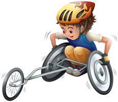 Menino, ligado, correndo, cadeira rodas vetor