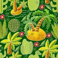 ilustração vetorial bonita. cactos, babosa, suculentas. elementos decorativos naturais vetor