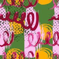 colagem de padrão sem emenda com elementos brilhantes e coloridos para o design de têxteis, capas, impressão. padrão artístico abstrato sem costura com texturas desenhadas à mão na moda vetor
