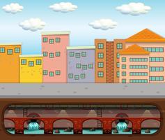 Um, vetorial, de, esgoto, desperdício, sob, cidade grande vetor