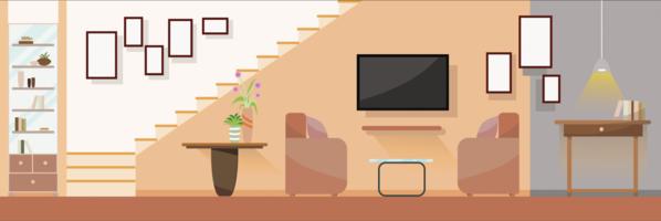 Interior Moderna sala de estar com mobília. Ilustração em vetor design plano