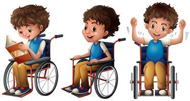 Menino, em, cadeira rodas, fazendo, três coisas vetor