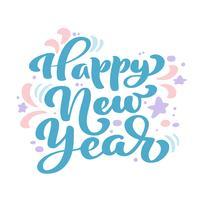 Feliz ano novo texto de vetor de rotulação de caligrafia vintage azul. Para a página de lista de design de modelo de arte, estilo de brochura de maquete, capa de ideia de bandeira, folheto de impressão de livreto, cartaz