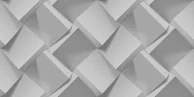 padrão geométrico sem costura cinza. cubos de concreto volumétrico realistas. modelo de vetor para papéis de parede, papel de embrulho, planos de fundo. textura abstrata com efeito de extrusão de volume.