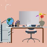 Ilustração em vetor design plano do espaço de trabalho criativo moderno escritório com computador e mapa-múndi em cima da mesa.
