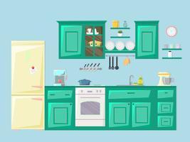 Interior da cozinha. Ilustração vetorial
