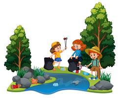 Crianças voluntariado limpando rio vetor
