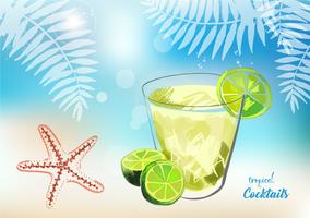 Cocktails tropicais com frutas frescas. vetor