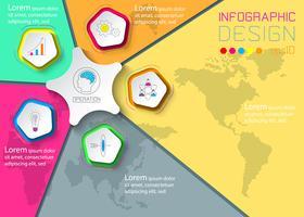 Cinco círculos com infográficos de ícone de negócios sobre fundo de mapa do mundo.