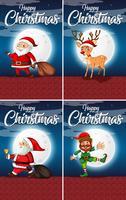 Conjunto de cartões de feliz natal vetor