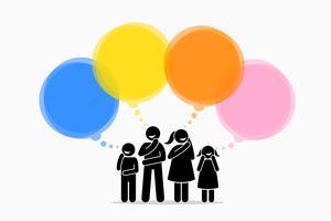 Diferentes membros da família pensando em coisas diferentes. vetor