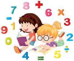 Duas meninas, leitura, livro matemática vetor