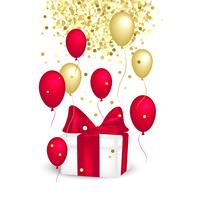 Caixa de presente com um laço vermelho, balões e glitter dourado.
