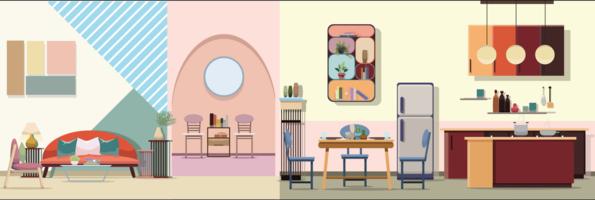 Interior Moderna sala de estar de cor com mobiliário. Ilustração em vetor design plano