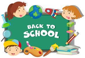 De volta ao tema da escola com os alunos e objetos vetor