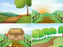 Quatro cenas de campo com cabana e trilhas vetor