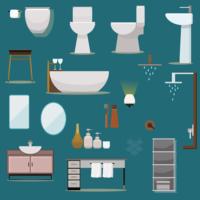 Coleção de móveis de casa de banho design plano vetor