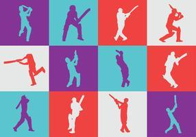 Pacote de vetores de silhueta de jogador de críquete